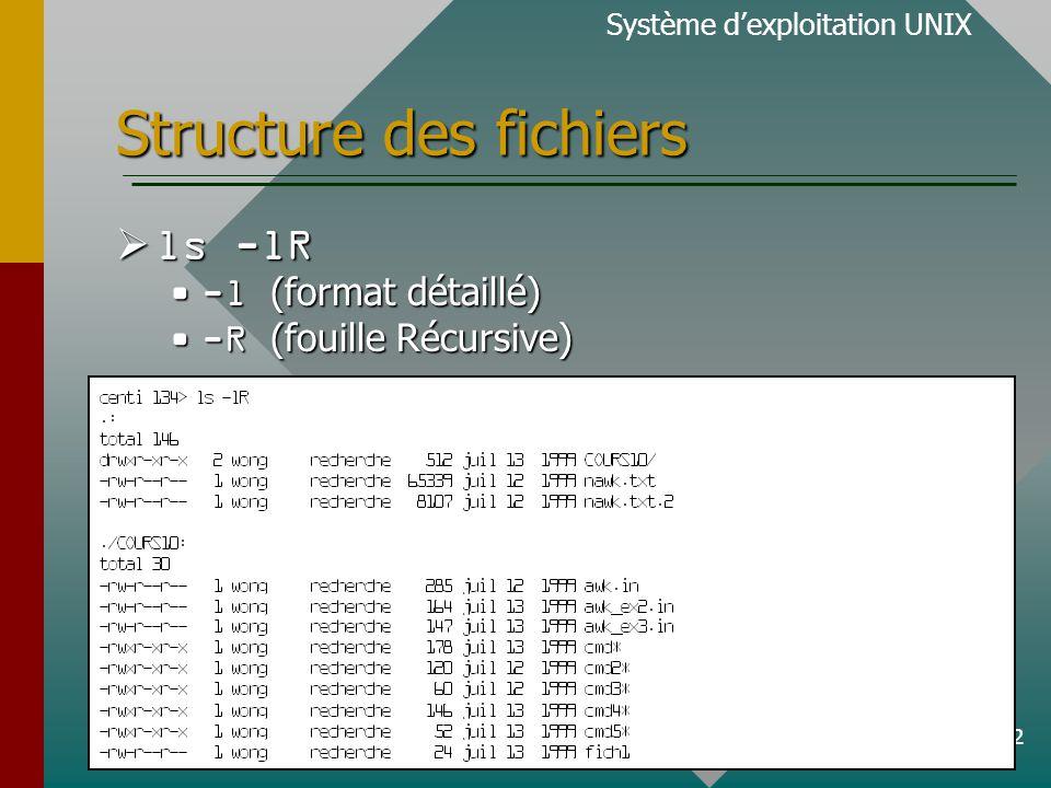 12 Structure des fichiers ls -lR ls -lR -l (format détaillé)-l (format détaillé) -R (fouille Récursive)-R (fouille Récursive) Système dexploitation UNIX