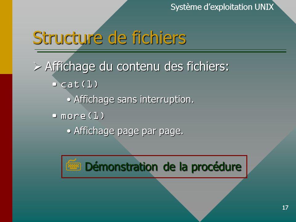 17 Structure de fichiers Affichage du contenu des fichiers: Affichage du contenu des fichiers: cat(1)cat(1) Affichage sans interruption.Affichage sans interruption.