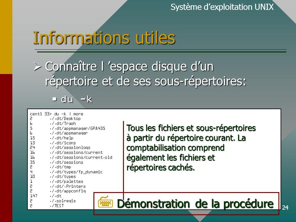 24 Informations utiles Système dexploitation UNIX Connaître l espace disque dun répertoire et de ses sous-répertoires: Connaître l espace disque dun répertoire et de ses sous-répertoires: du -kdu -k Tous les fichiers et sous-répertoires à partir du répertoire courant.