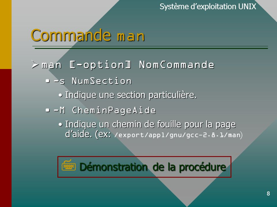 8 Commande man man [-option] NomCommande man [-option] NomCommande -s NumSection-s NumSection Indique une section particulière.Indique une section particulière.
