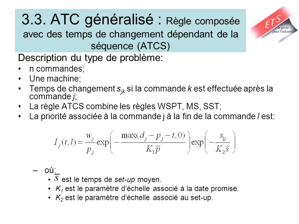 3.3. ATC généralisé : Règle composée avec des temps de changement dépendant de la séquence (ATCS) Description du type de problème: n commandes; Une ma