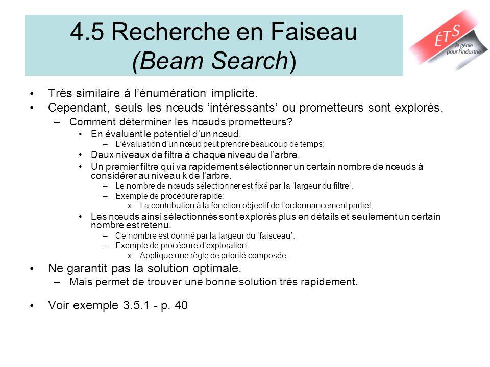 4.5 Recherche en Faiseau (Beam Search) Très similaire à lénumération implicite. Cependant, seuls les nœuds intéressants ou prometteurs sont explorés.