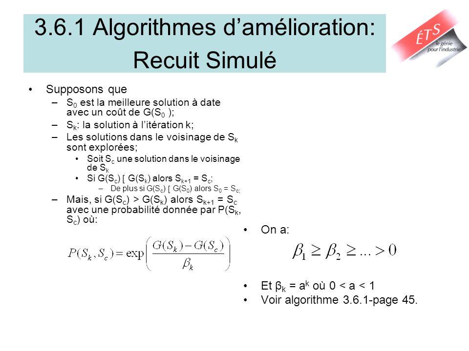 3.6.1 Algorithmes damélioration: Recuit Simulé Supposons que –S 0 est la meilleure solution à date avec un coût de G(S 0 ); –S k : la solution à litér
