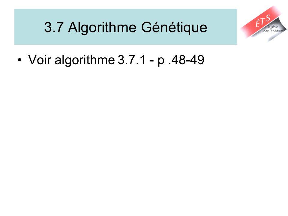 3.7 Algorithme Génétique Voir algorithme 3.7.1 - p.48-49