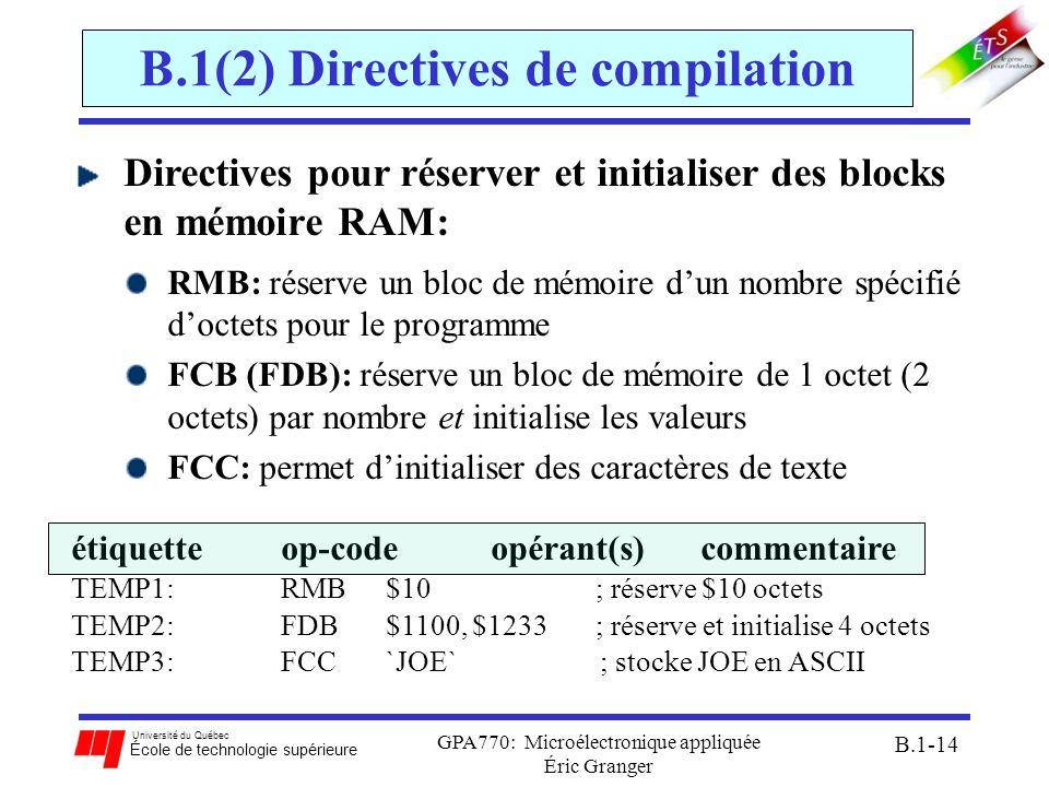 Université du Québec École de technologie supérieure GPA770: Microélectronique appliquée Éric Granger B.1-14 B.1(2) Directives de compilation Directiv