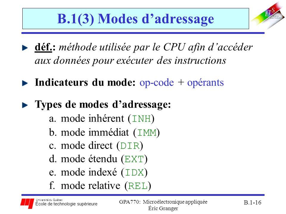 Université du Québec École de technologie supérieure GPA770: Microélectronique appliquée Éric Granger B.1-16 B.1(3) Modes dadressage déf.: méthode uti