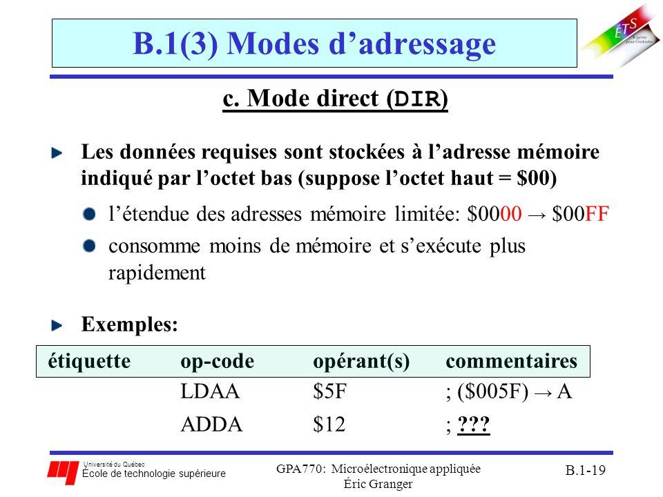 Université du Québec École de technologie supérieure GPA770: Microélectronique appliquée Éric Granger B.1-19 B.1(3) Modes dadressage c. Mode direct (