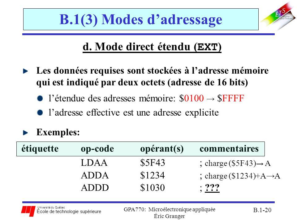 Université du Québec École de technologie supérieure GPA770: Microélectronique appliquée Éric Granger B.1-20 B.1(3) Modes dadressage d. Mode direct ét