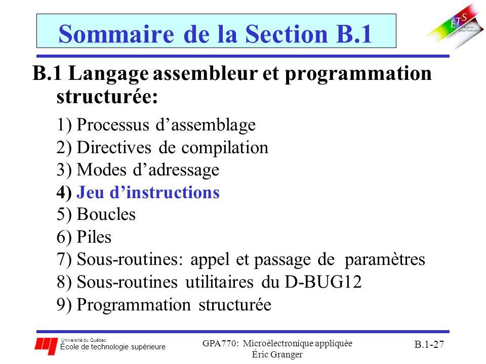 Université du Québec École de technologie supérieure GPA770: Microélectronique appliquée Éric Granger B.1-27 Sommaire de la Section B.1 B.1 Langage as
