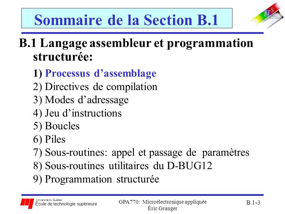 Université du Québec École de technologie supérieure GPA770: Microélectronique appliquée Éric Granger B.1-14 B.1(2) Directives de compilation Directives pour réserver et initialiser des blocks en mémoire RAM: RMB: réserve un bloc de mémoire dun nombre spécifié doctets pour le programme FCB (FDB): réserve un bloc de mémoire de 1 octet (2 octets) par nombre et initialise les valeurs FCC: permet dinitialiser des caractères de texte étiquetteop-codeopérant(s) commentaire TEMP1:RMB$10 ; réserve $10 octets TEMP2:FDB$1100, $1233 ; réserve et initialise 4 octets TEMP3:FCC`JOE` ; stocke JOE en ASCII