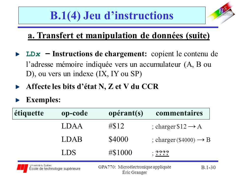 Université du Québec École de technologie supérieure GPA770: Microélectronique appliquée Éric Granger B.1-30 B.1(4) Jeu dinstructions a. Transfert et