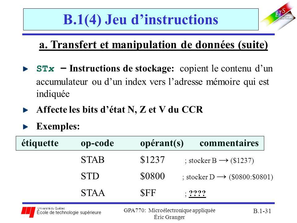 Université du Québec École de technologie supérieure GPA770: Microélectronique appliquée Éric Granger B.1-31 B.1(4) Jeu dinstructions a. Transfert et