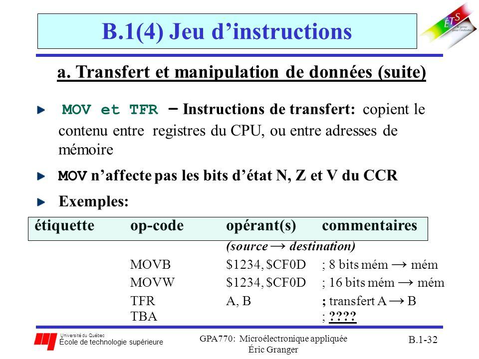 Université du Québec École de technologie supérieure GPA770: Microélectronique appliquée Éric Granger B.1-32 B.1(4) Jeu dinstructions a. Transfert et