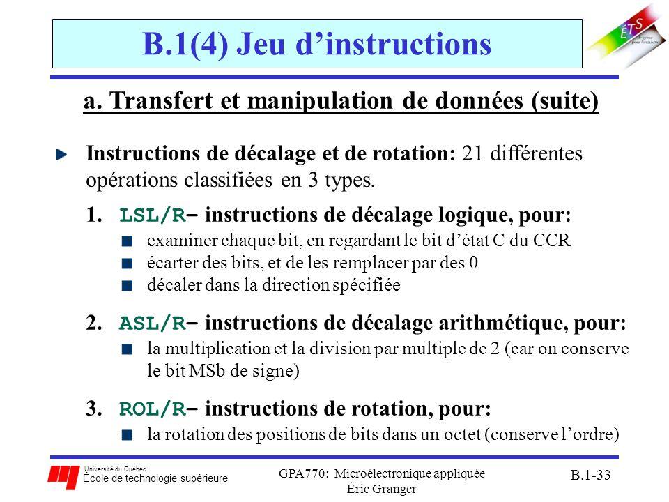 Université du Québec École de technologie supérieure GPA770: Microélectronique appliquée Éric Granger B.1-33 B.1(4) Jeu dinstructions a. Transfert et