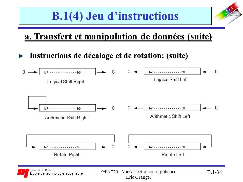 Université du Québec École de technologie supérieure GPA770: Microélectronique appliquée Éric Granger B.1-34 B.1(4) Jeu dinstructions a. Transfert et