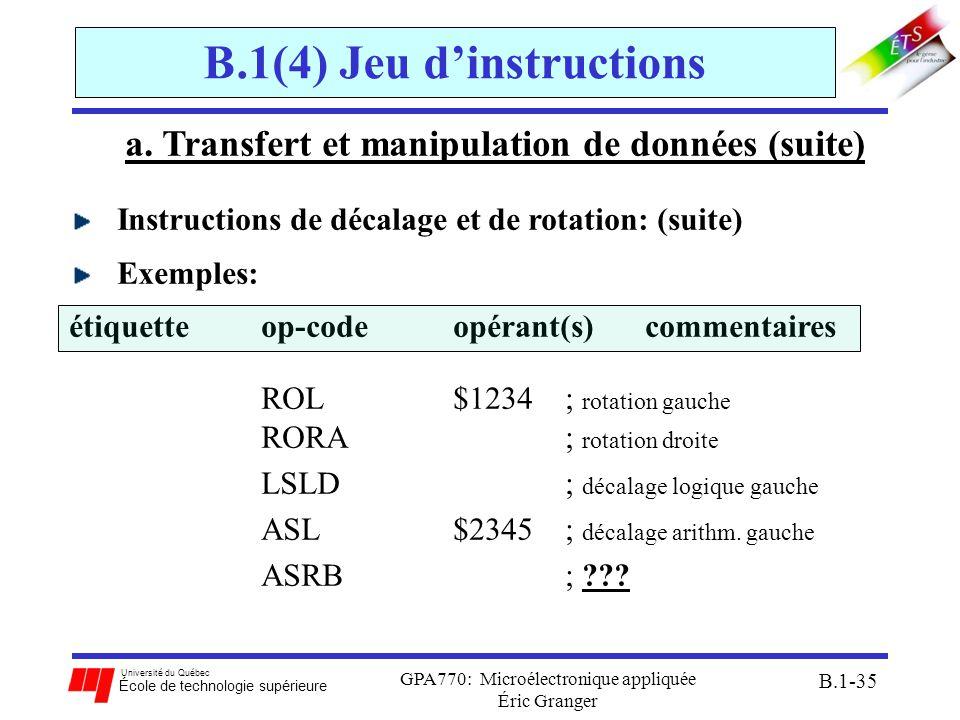 Université du Québec École de technologie supérieure GPA770: Microélectronique appliquée Éric Granger B.1-35 B.1(4) Jeu dinstructions a. Transfert et