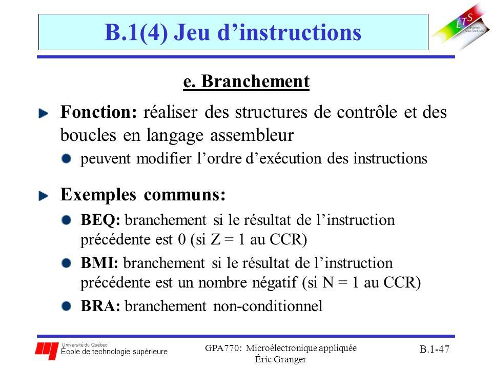 Université du Québec École de technologie supérieure GPA770: Microélectronique appliquée Éric Granger B.1-47 B.1(4) Jeu dinstructions e. Branchement F