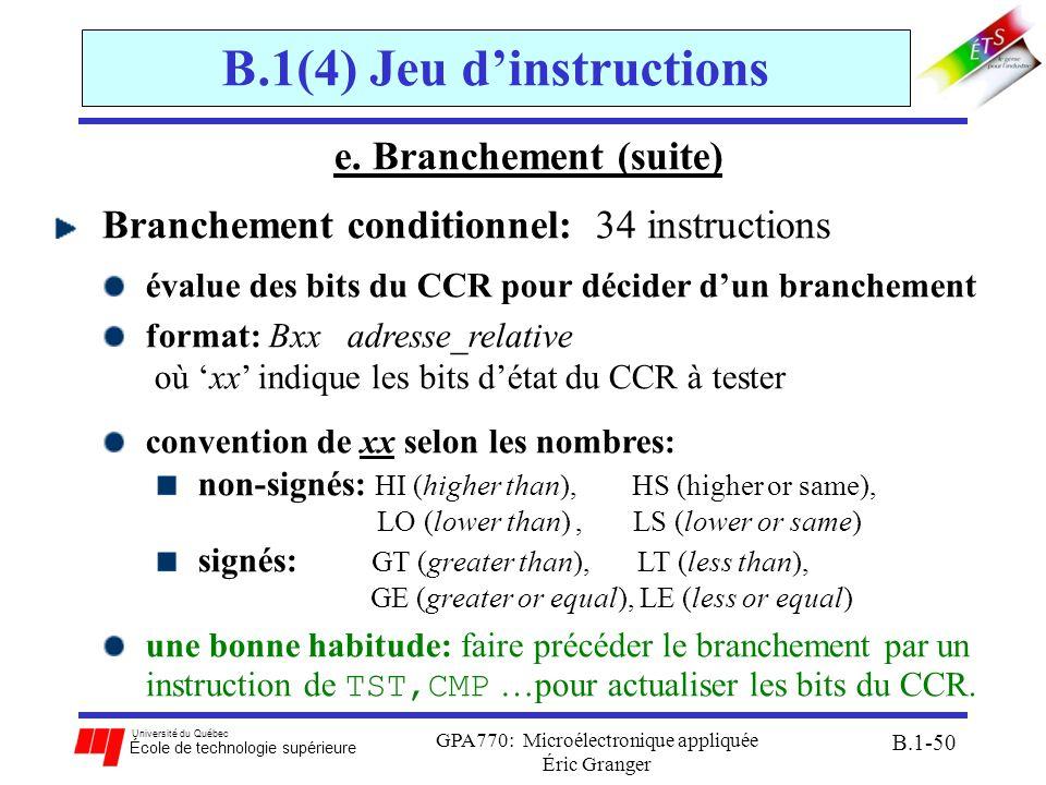 Université du Québec École de technologie supérieure GPA770: Microélectronique appliquée Éric Granger B.1-50 B.1(4) Jeu dinstructions e. Branchement (