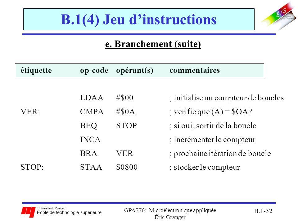 Université du Québec École de technologie supérieure GPA770: Microélectronique appliquée Éric Granger B.1-52 B.1(4) Jeu dinstructions e. Branchement (