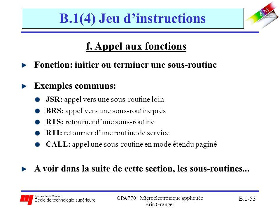 Université du Québec École de technologie supérieure GPA770: Microélectronique appliquée Éric Granger B.1-53 B.1(4) Jeu dinstructions f. Appel aux fon