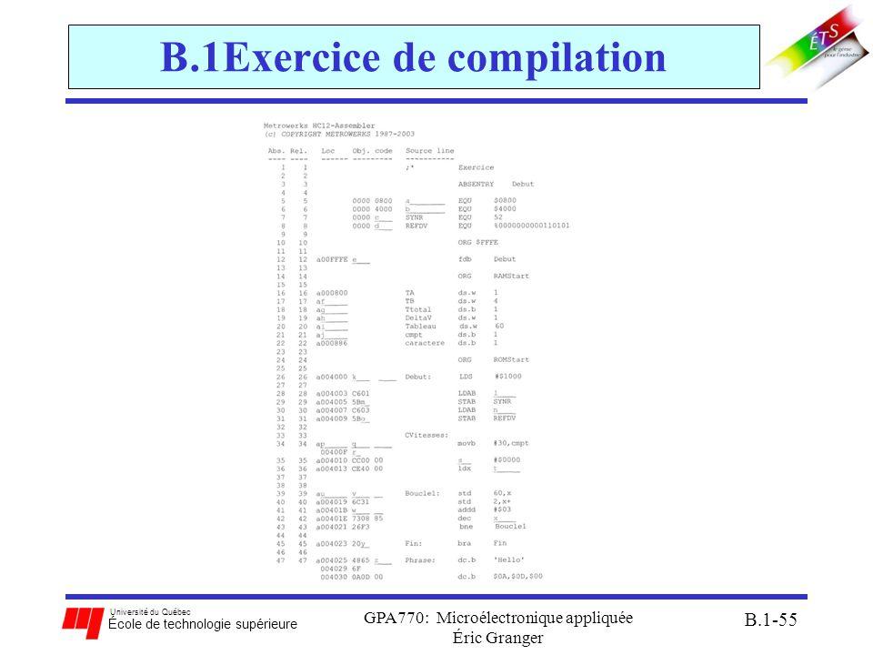 Université du Québec École de technologie supérieure GPA770: Microélectronique appliquée Éric Granger B.1-55 B.1Exercice de compilation