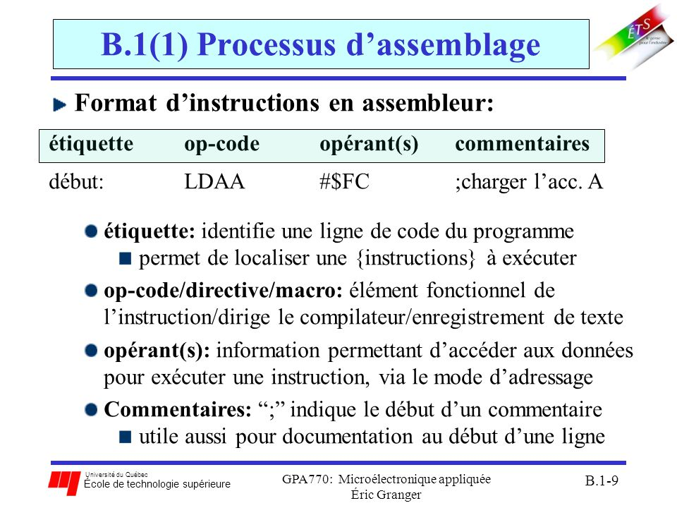 Université du Québec École de technologie supérieure GPA770: Microélectronique appliquée Éric Granger B.1-10 B.1(1) Processus dassemblage Structure globale dun programme: ; SECTION DÉFINTIONS NUM1: EQU $24 NUM2: EQU $05 ; SECTION DE DONNÉES ORG $0800 RESULT:RMB $02 ORG $4000 ; SOUS-ROUTINES ; SECTION DU PROGRAMME PRINCIPAL DEBUT:LDAA #NUM1 LDAB #NUM2 MUL STD RESULT END