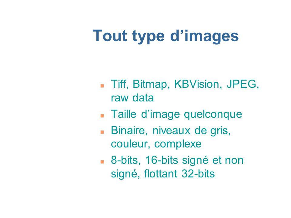 Tout type dimages n Tiff, Bitmap, KBVision, JPEG, raw data n Taille dimage quelconque n Binaire, niveaux de gris, couleur, complexe n 8-bits, 16-bits