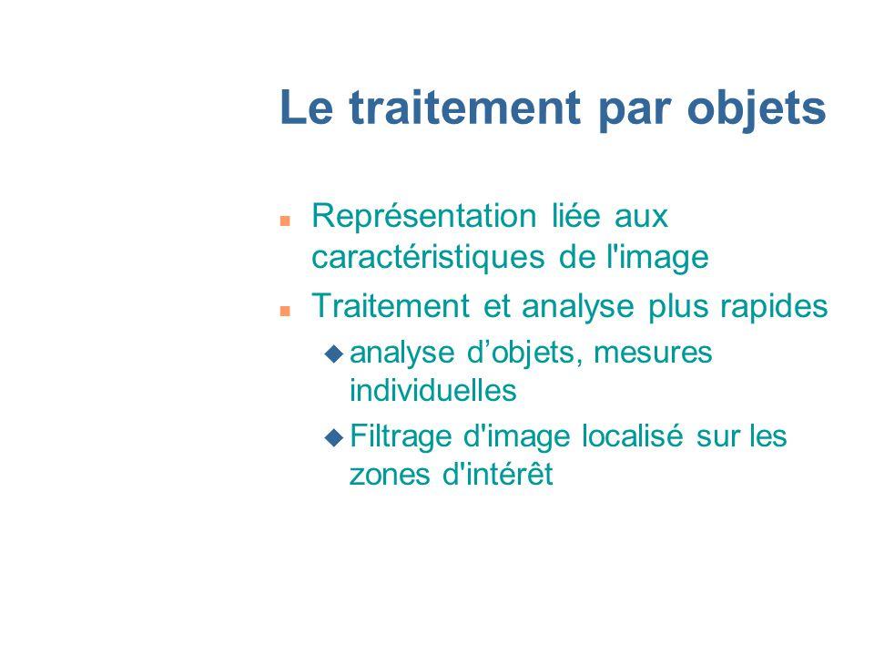Le traitement par objets n Représentation liée aux caractéristiques de l image n Traitement et analyse plus rapides u analyse dobjets, mesures individuelles u Filtrage d image localisé sur les zones d intérêt