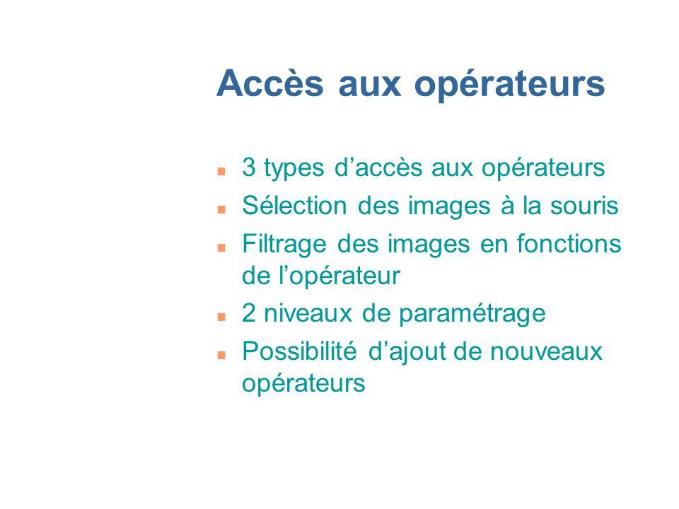 Accès aux opérateurs n 3 types daccès aux opérateurs n Sélection des images à la souris n Filtrage des images en fonctions de lopérateur n 2 niveaux de paramétrage n Possibilité dajout de nouveaux opérateurs