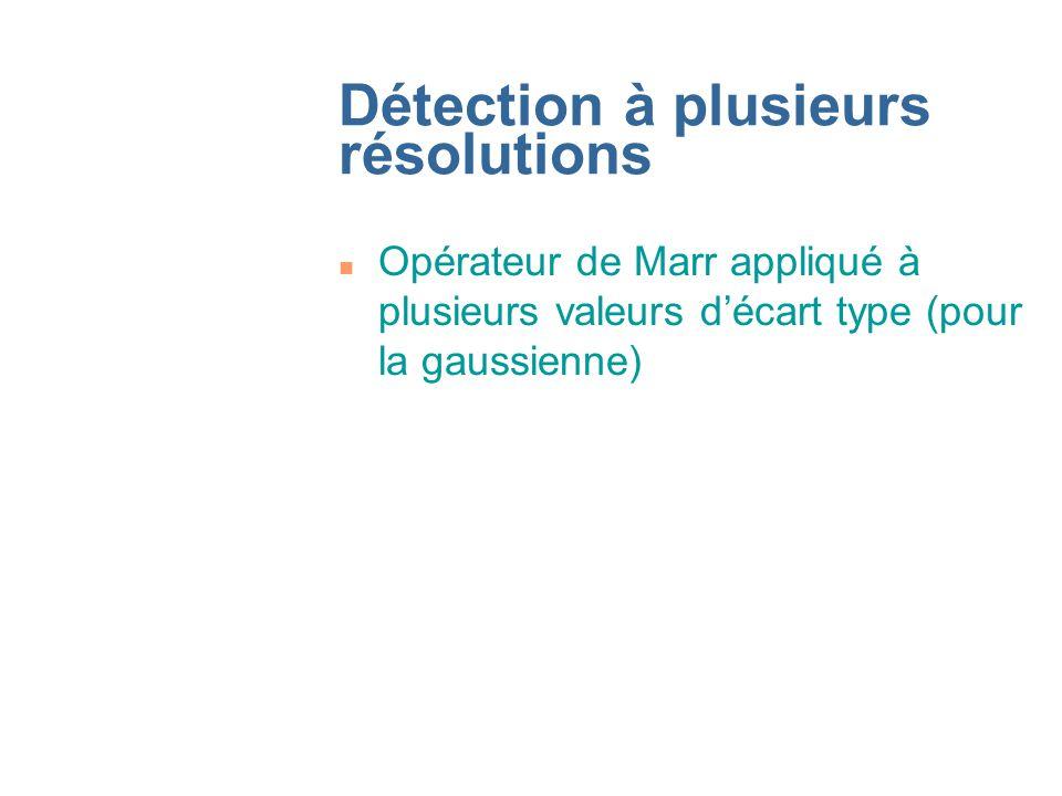 Détection à plusieurs résolutions n Opérateur de Marr appliqué à plusieurs valeurs décart type (pour la gaussienne)