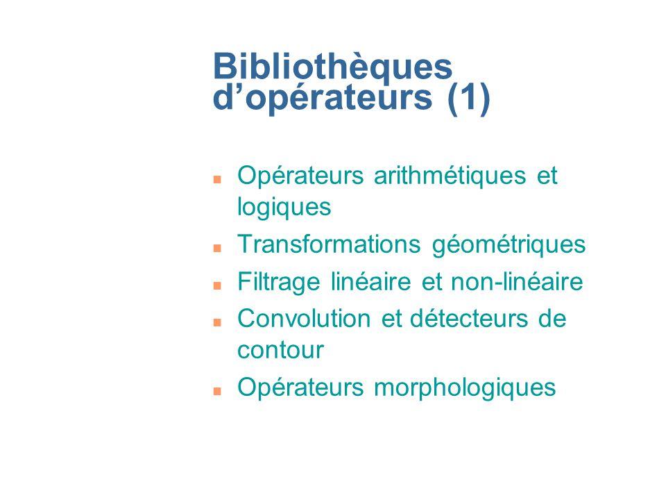 Bibliothèques dopérateurs (1) n Opérateurs arithmétiques et logiques n Transformations géométriques n Filtrage linéaire et non-linéaire n Convolution