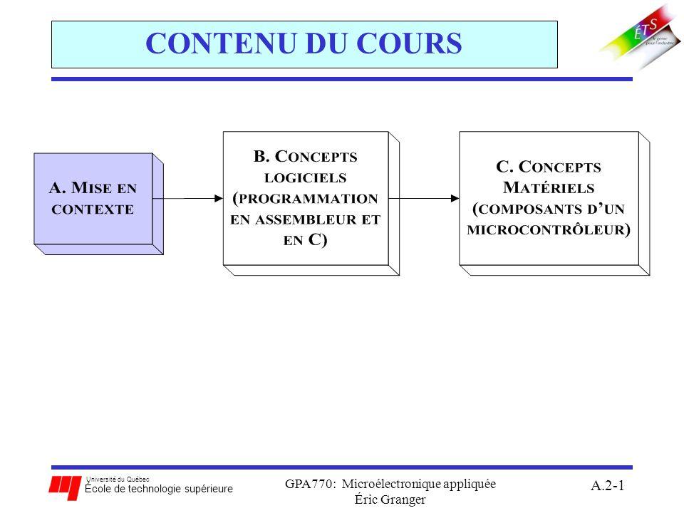 Université du Québec École de technologie supérieure GPA770: Microélectronique appliquée Éric Granger A.2-22 A.2(3) Modèle du programmeur A et B accumulateurs à 8 bits: D combine A et B pour former un accumulateur à 16 bits registres à usage général, avec lesquels toutes les opérations arithmétiques et logiques sont effectuées X, Y indexes (pointeurs) à 16-bit: contient ladresse mémoire dun liste de données utilisé avec un décalage pour manipuler le élément de liste PC compteur de programme à 16 bits: mécanisme qui gouverne lexécution ordonnée dinstructions contient ladresse mémoire de la prochaine instruction à exécuter SP pointeur de pile à 16-bit: contient ladresse mémoire de la dernière valeur de pile contrôle lopération de la pile (FILO) en mémoire