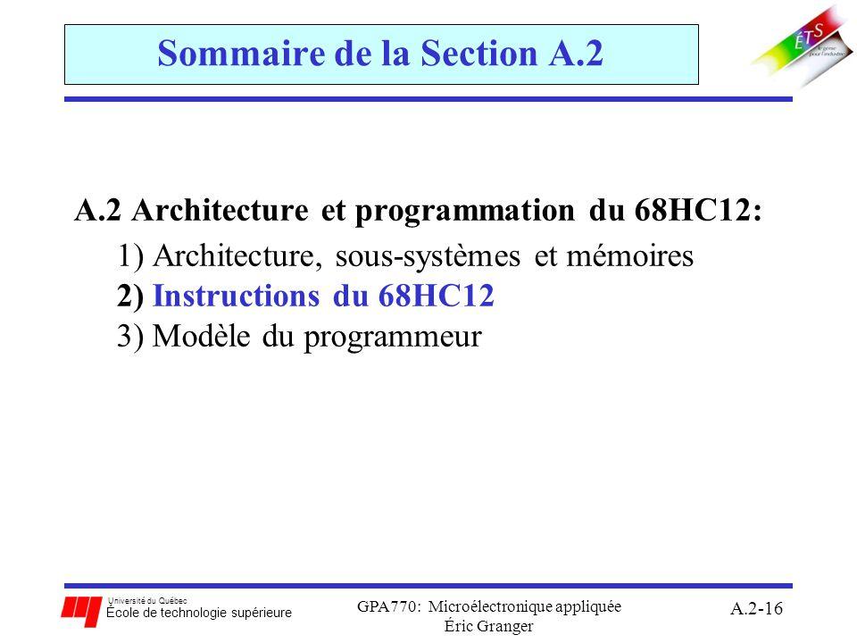Université du Québec École de technologie supérieure GPA770: Microélectronique appliquée Éric Granger A.2-16 Sommaire de la Section A.2 A.2 Architectu