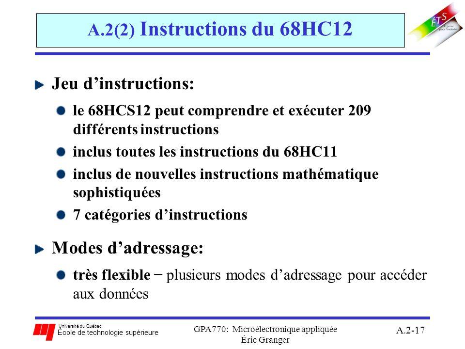 Université du Québec École de technologie supérieure GPA770: Microélectronique appliquée Éric Granger A.2-17 A.2(2) Instructions du 68HC12 Jeu dinstru