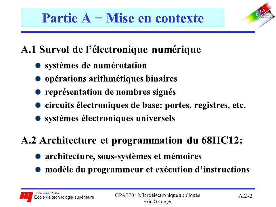 Université du Québec École de technologie supérieure GPA770: Microélectronique appliquée Éric Granger A.2-3 Sommaire de la Section A.2 A.2 Architecture et programmation du 68HC12: 1)Architecture, sous-systèmes et mémoires 2)Instructions du 68HC12 3)Modèle du programmeur