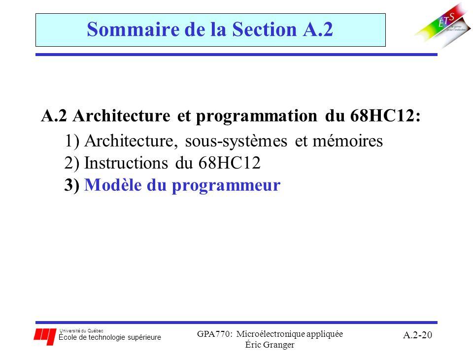 Université du Québec École de technologie supérieure GPA770: Microélectronique appliquée Éric Granger A.2-20 Sommaire de la Section A.2 A.2 Architectu