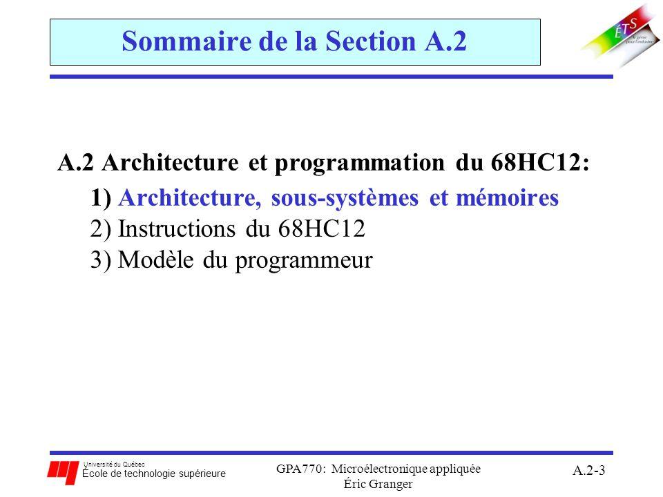 Université du Québec École de technologie supérieure GPA770: Microélectronique appliquée Éric Granger A.2-4 A.2(1) Architecture, sous-systèmes et mémoires Introduction du 68HC12 au marché en 1997: évolution direct du 68HC11 qui est plus performante et versatile (instructions, modes dadressage, etc.) microcontrôleur avec CPU à 16 bits: le chemin de données interne est de 16 bits horloge de système à 8 MHz: générée par un crystal à 16MHz divisé par 2 conçu en technologie CMOS: la consommation de puissance est basse système = {modules} connectés à un bus inter module (LIM)