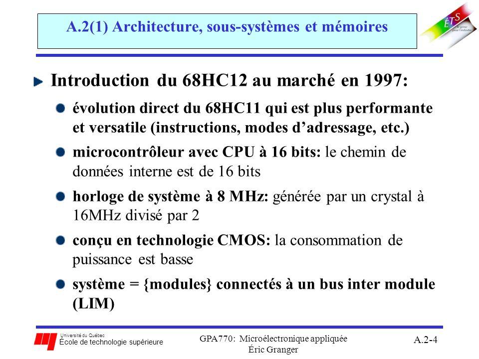Université du Québec École de technologie supérieure GPA770: Microélectronique appliquée Éric Granger A.2-5 A.2(1) Architecture, sous-systèmes et mémoires Évolution du 68HC12: