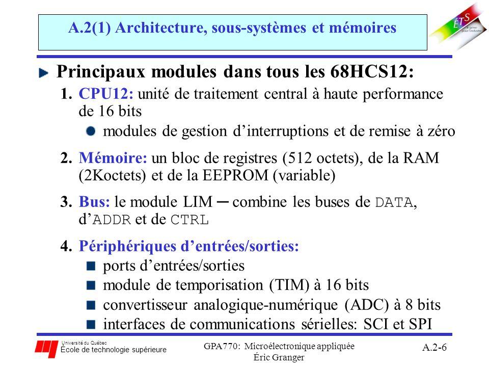 Université du Québec École de technologie supérieure GPA770: Microélectronique appliquée Éric Granger A.2-7 A.2(1) Architecture, sous-systèmes et mémoires Plusieurs variantes du 68HCS12: différences entre variantes surtout selon: la structure de la mémoire le nombre de canaux dentrée/sortie la configuration pour les communications sérielles en cours: MC9S12D ciblé pour mode circuit autonome au laboratoire: MC9S12C32 ciblé pour mode circuit autonome (série 68HCS12 introduit au marché en 2002) plus de mémoire interne et une horloge à 16 MHz