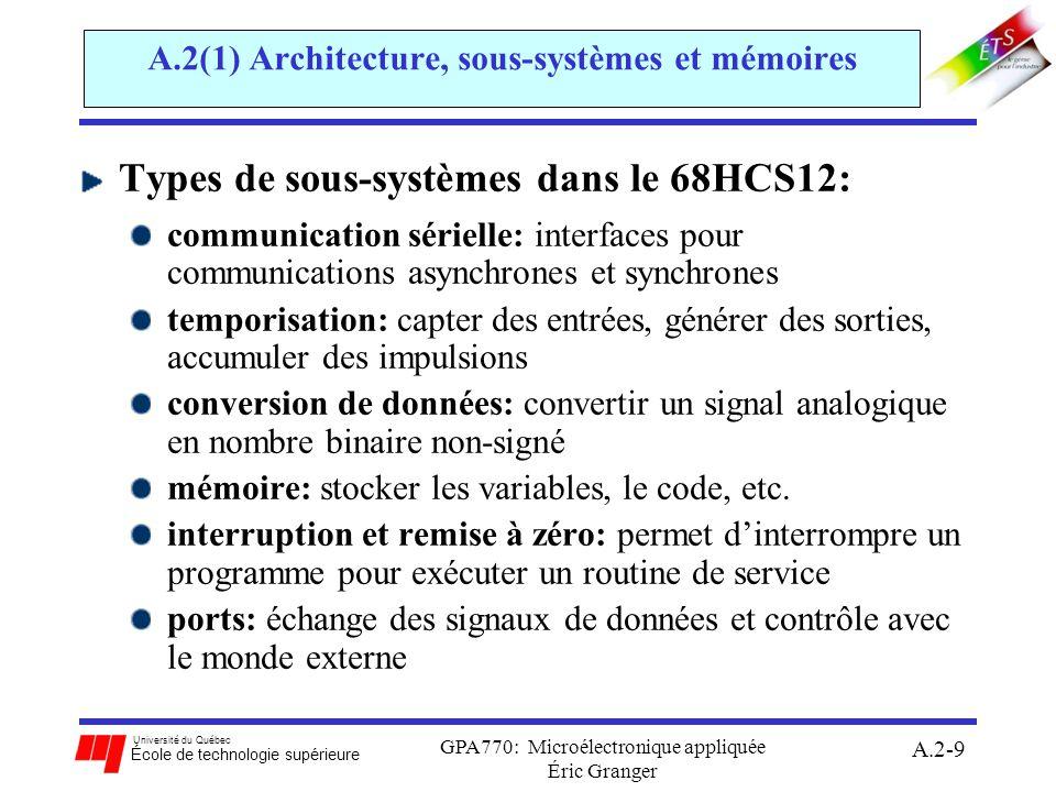 Université du Québec École de technologie supérieure GPA770: Microélectronique appliquée Éric Granger A.2-10 Rôle des types de sous-systèmes dans le 68HCS12: a)CPU12: unité de traitement central gestion dexceptions : interrompre lexécution normal dun programme b)Module LIM: combine les buses de DATA, d ADDR et de CTRL c)Mémoire: stocker des configurations (bloc), des variables (RAM) et des programmes (ROM) d)Périphériques dentrée/sortie: ports dentrée/sortie: échanger des données avec le monde externe temporisation: capter des entrées, générer des sorties, accumuler des impulsions, PWM conversion de données: convertir un signal analogique en codes binaires non-signés communication sérielle: échanger de données par communications asynchrones (SCI) et synchrones (SPI) A.2(1) Architecture, sous-systèmes et mémoires