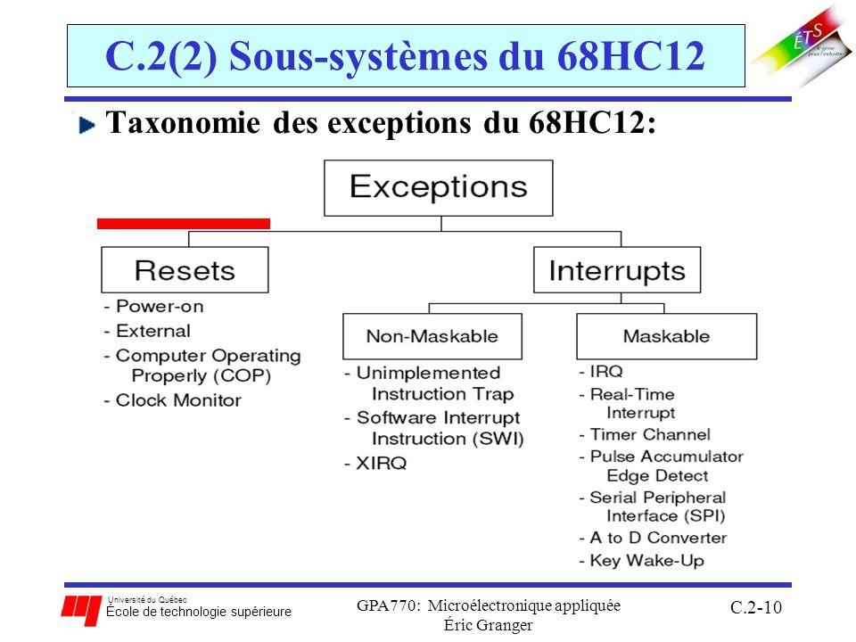 Université du Québec École de technologie supérieure GPA770: Microélectronique appliquée Éric Granger C.2-10 C.2(2) Sous-systèmes du 68HC12 Taxonomie des exceptions du 68HC12:
