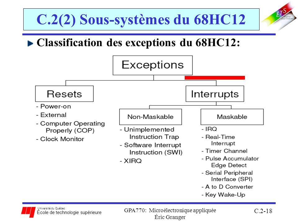 Université du Québec École de technologie supérieure GPA770: Microélectronique appliquée Éric Granger C.2-18 C.2(2) Sous-systèmes du 68HC12 Classification des exceptions du 68HC12:
