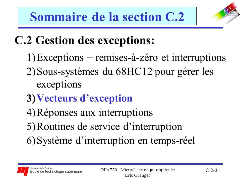 Université du Québec École de technologie supérieure GPA770: Microélectronique appliquée Éric Granger C.2-31 Sommaire de la section C.2 C.2 Gestion des exceptions: 1)Exceptions remises-à-zéro et interruptions 2)Sous-systèmes du 68HC12 pour gérer les exceptions 3)Vecteurs dexception 4)Réponses aux interruptions 5)Routines de service dinterruption 6)Système dinterruption en temps-réel