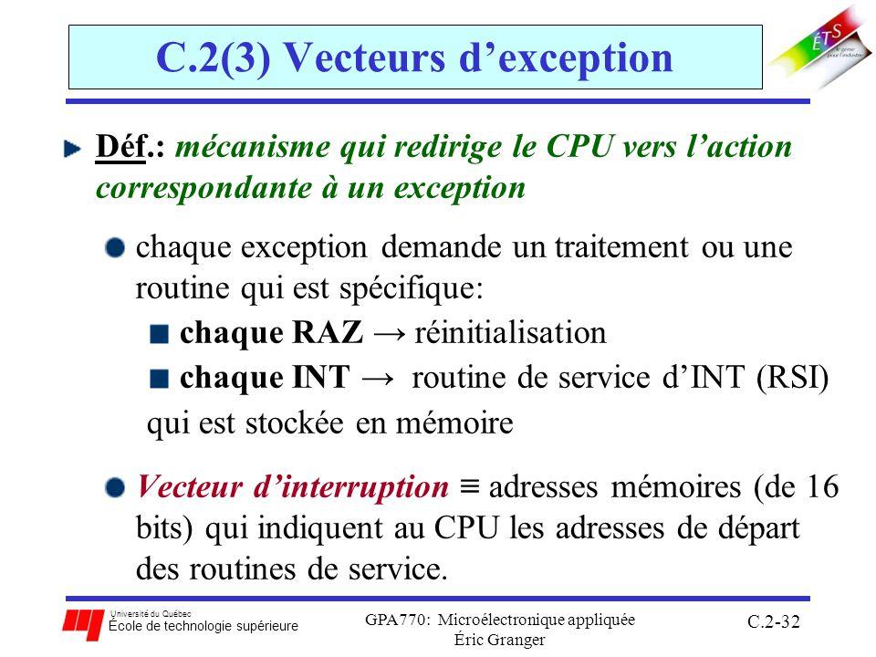 Université du Québec École de technologie supérieure GPA770: Microélectronique appliquée Éric Granger C.2-32 C.2(3) Vecteurs dexception Déf.: mécanisme qui redirige le CPU vers laction correspondante à un exception chaque exception demande un traitement ou une routine qui est spécifique: chaque RAZ réinitialisation chaque INT routine de service dINT (RSI) qui est stockée en mémoire Vecteur dinterruption adresses mémoires (de 16 bits) qui indiquent au CPU les adresses de départ des routines de service.