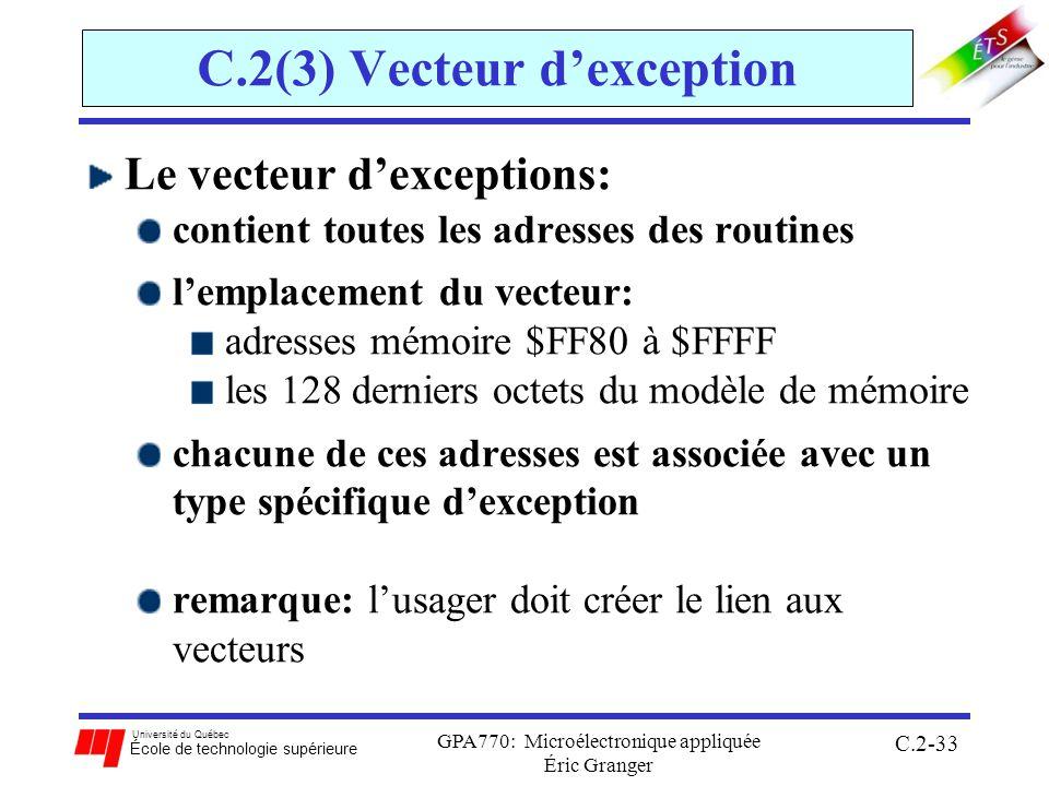 Université du Québec École de technologie supérieure GPA770: Microélectronique appliquée Éric Granger C.2-33 C.2(3) Vecteur dexception Le vecteur dexceptions: contient toutes les adresses des routines lemplacement du vecteur: adresses mémoire $FF80 à $FFFF les 128 derniers octets du modèle de mémoire chacune de ces adresses est associée avec un type spécifique dexception remarque: lusager doit créer le lien aux vecteurs