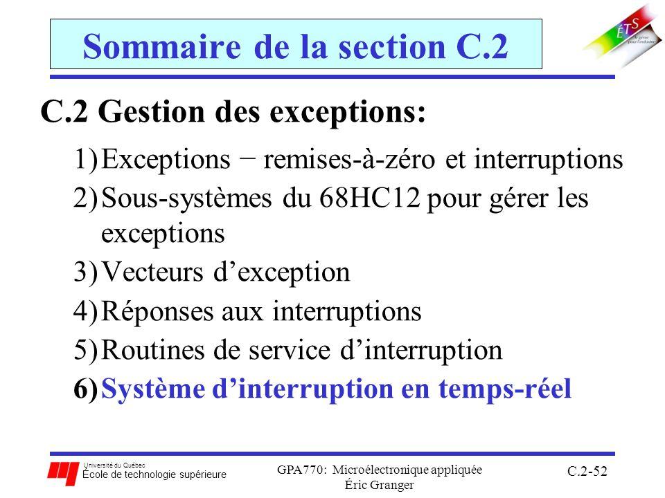 Université du Québec École de technologie supérieure GPA770: Microélectronique appliquée Éric Granger C.2-52 Sommaire de la section C.2 C.2 Gestion des exceptions: 1)Exceptions remises-à-zéro et interruptions 2)Sous-systèmes du 68HC12 pour gérer les exceptions 3)Vecteurs dexception 4)Réponses aux interruptions 5)Routines de service dinterruption 6)Système dinterruption en temps-réel