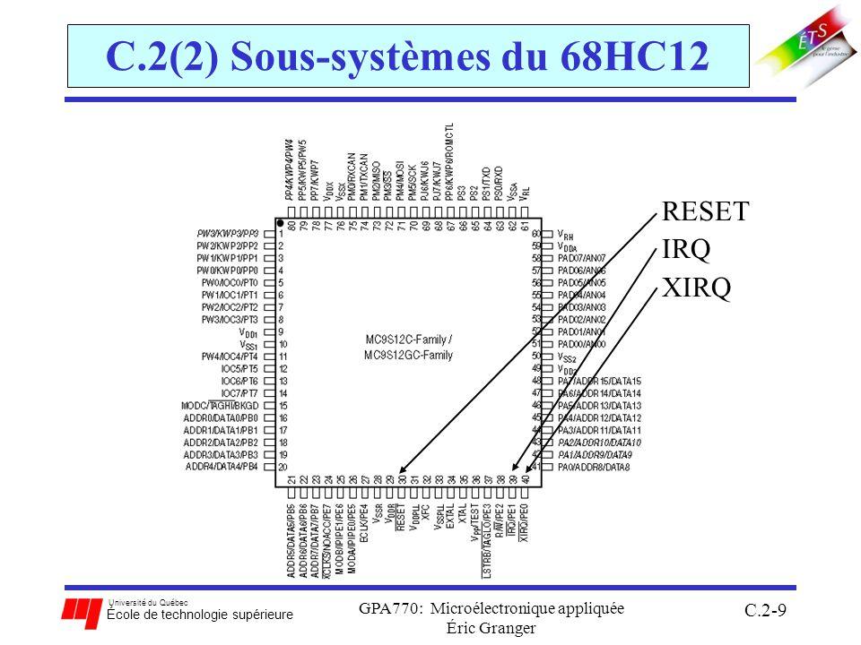 Université du Québec École de technologie supérieure GPA770: Microélectronique appliquée Éric Granger C.2-40 C.2(4) Réponses aux interruptions Réponse spécifique aux INT: (suite) Sortie dune INT: à le fin de la RSI, exécute linstruction RTI 1.restaure létat original du processeur (la valeur de tous les registres CPU) avec la pile (CCR inclus) 2.transfert le contrôle dexécution au programme principal, là ou il était avant lINT