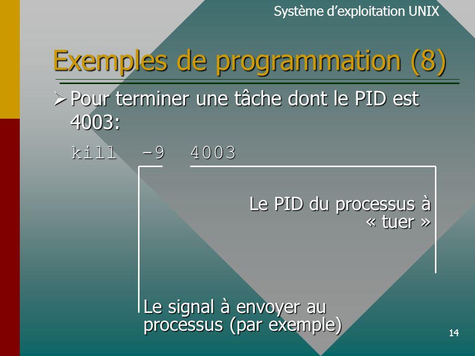 14 Exemples de programmation (8) Système dexploitation UNIX Pour terminer une tâche dont le PID est 4003: Pour terminer une tâche dont le PID est 4003