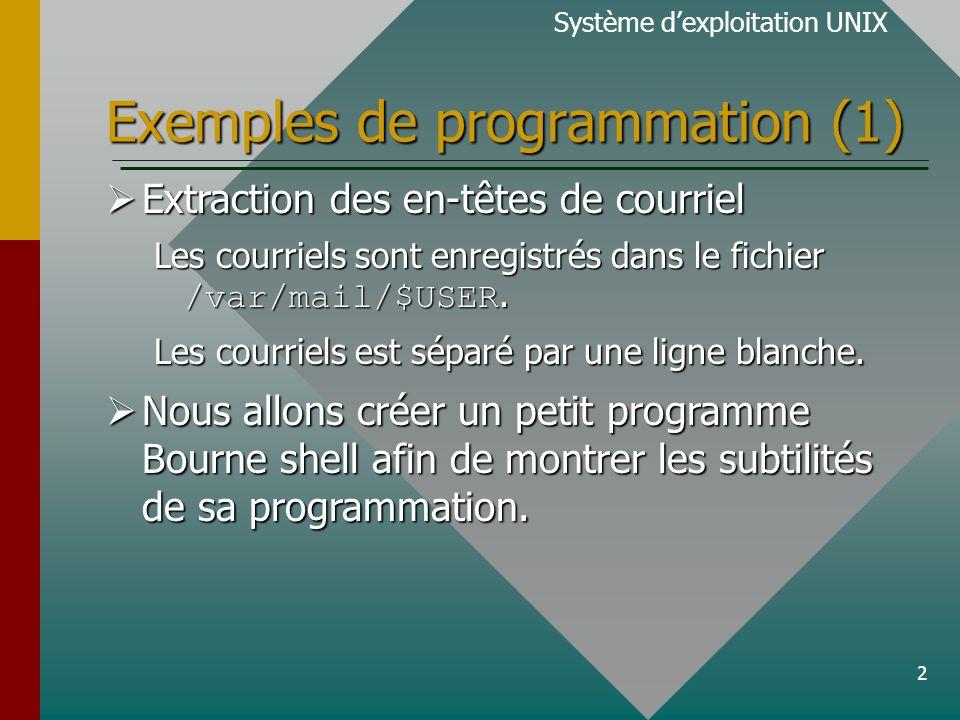 3 Exemples de programmation (2) Système dexploitation UNIXOrdinogramme Nous utiliserons grep(1) et expr(1) pour extraire le champ Content-Length: Len-tête et le corps dun courriel sont séparés par une ligne blanche.