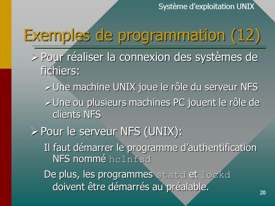 20 Exemples de programmation (12) Système dexploitation UNIX Pour réaliser la connexion des systèmes de fichiers: Pour réaliser la connexion des systè